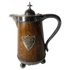 English Silver-Plate, Oak , Side-Handle Coffee Pot/Tennis Tournament Trophy, 1891