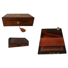 Burr Walnut Writing Slope by Samuel Fisher, The Strand, London, C. 1880