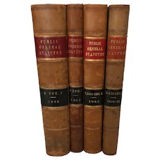 4 Leather Bound Law Books English Public General Statutes