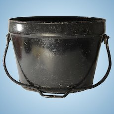 English Cast Iron Coal Bucket, Painted Black