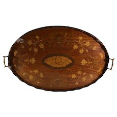 "Victorian English 27"" Rosewood Serving Tray, Floral and Shell Inlay"