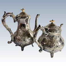 Ornate Antique English Silver Plate Coffee & Tea Set, Rising Phoenix, Figural Mascarons