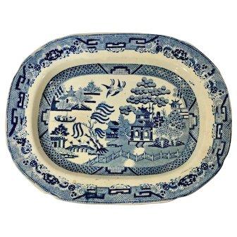English Blue Willow Platter. C.1850