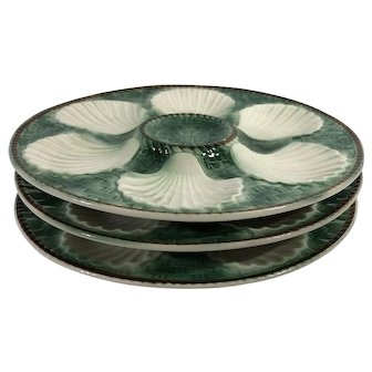 French Majolica Oyster Plates C.1950