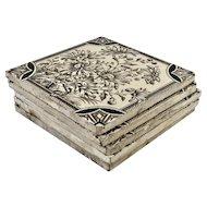 Set of Five Floral Designed Ceramic Tiles