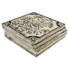 Set of Three Floral Designed Ceramic Tiles