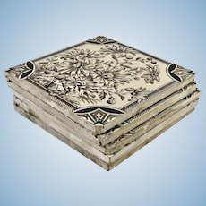 Set of Three Floral Designed Ceramic Tiles
