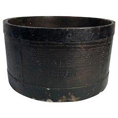 English Edwardian Half Gallon Walnut & Iron Grain Measure, Hallmarked