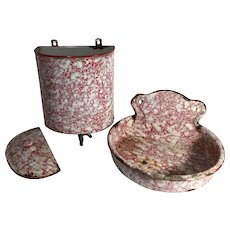 Antique French Enamelware Hanging Wall Fountain