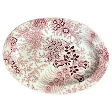 C. 1851-1861 Child's Dinner Set Red and White Plate