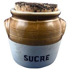 Vintage French Stoneware Sugar (Sucre) Jar