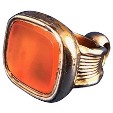 English Victorian 9 ct Gold Carnelian Watch Fob Pendant