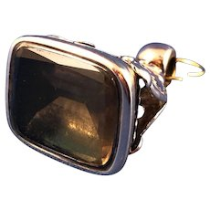 English Victorian 9 ct Gold Topaz Watch Fob, C.1880