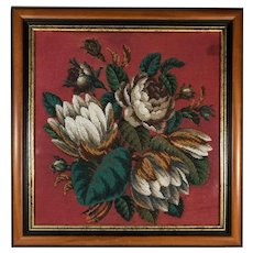 Framed Victorian Floral Bead Work