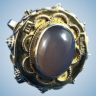 English Sterling 8 ct Gold Jade Watch Fob