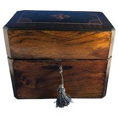 Victorian Flame Mahogany Inlay Cognac Decanter Box