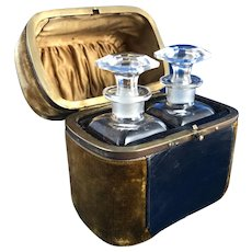 Antique French Scent Caddy, 2 Perfume, Cologne Bottles, Leather, Velvet