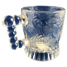 Bryce Brothers Toy Glass Mug: Dogs and Bird Beaded Handle