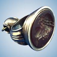Antique Carnelian Roman Profile Watch Fob/Seal
