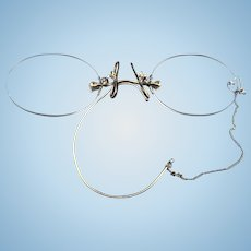 Pince Nez Spectacles Frameless Eyeglasses with Loop