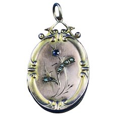 Victorian Seed Pearls & Sapphire 9 ct Gold Locket