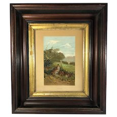 Partridge Quail Framed Chromolithograph by Louis Prang Published by Selmar Hess, c. 1880