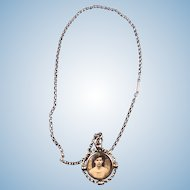 English 12 ct Gold Necklace with 2-Sided Brooch