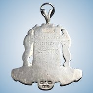 English Sterling Silver Fob/Award Medal
