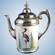 Antique Enamelware Tea Pot Painted Heron in Marsh