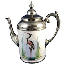 Antique Enamelware Tea Pot Painted Heron in Marsh