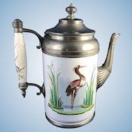 Antique Enamelware Pewter Coffee Pot Painted Heron in Marsh