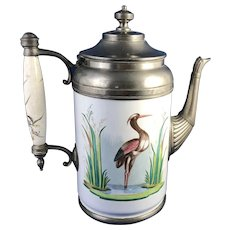 Antique Enamelware Pewter Coffee Pot Painted Heron in Marsh