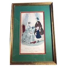 Victorian French Framed Macasin Des Memoiselles Print