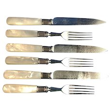 3 English Stainless Steel & Mother of Pearl Fork and Knife Sets