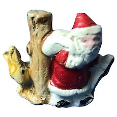 Vintage Cake Topper  Santa and Rabbit