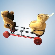 2 Steiff Knopf IM OHR Teddy Bears 013224 with Seesaw Pull Toy
