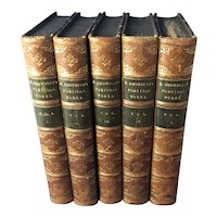 Poetical Works of Elizabeth Barrett Browning, Leather Bound, 5 Volumes