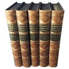 Poetical Works of Elizabeth Barrett Browning, Leather Bound, 5 Volumes