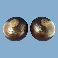 Pair of English Lawn Bowling Bowls, London, Bias 3