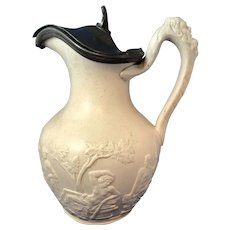 English Victorian Stoneware Jug with Pewter Lid