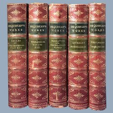 Five Volume Collection De Quincey's Works, Boston, 1873