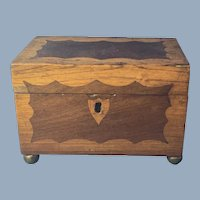 Early Victorian Mahogany and Oak Tea Caddy