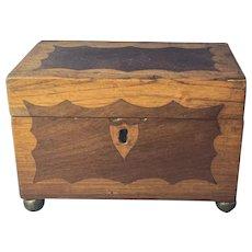 Early Victorian Mahogany and Oak Tea Caddy