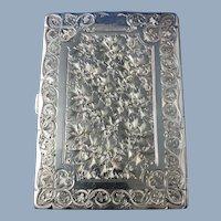 English Victorian Sterling Silver Card Case, Birmingham, 1884