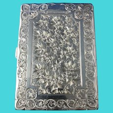 English Victorian Sterling Silver Card Case, Birmingham, 1884