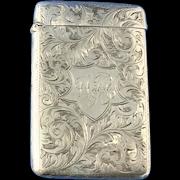 Victorian Sterling Silver Card Holder, Birmingham, 1901