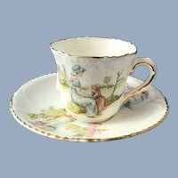 Kate Greenway Tea Cup and Saucer.  C.1940