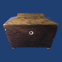 19th Century English Mahogany Sarcophagus-Shape Single Tea Caddy