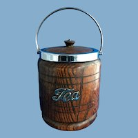 English Oak Porcelain-Lined Tea Barrel