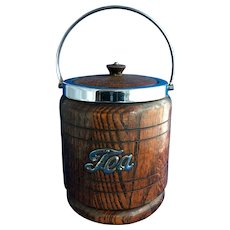 English Oak Porcelain-Lined Tea Barrel